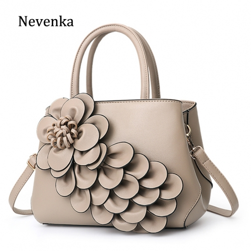 Floral Handbags Women Leather Handbag Black Shoulder Bag Large Capacity Crossbody Bag for Girls Purse and Handbag 2018