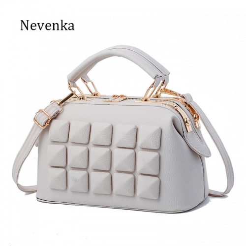 Brand Women Leather Boston Bag Ladies Stone New Design Handbag Female Luxury Party Evening Bags Casual Tote New Arrival