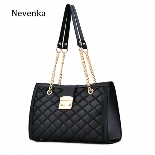 Single Shoulder Bag Ling Ge Lady Bag Lock Button 2019 New Chain Bag Large Bag Capacity