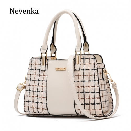 Spring 2019 new Pu lady bag with checkerwork pattern killer bag Korean version lady bag with mother's handbag and one shoulder bag with oblique should