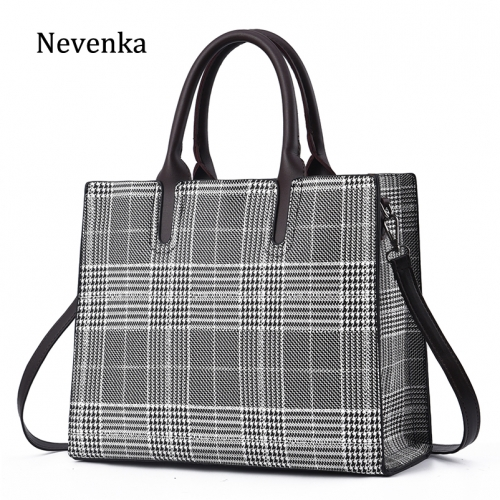 Black-and-white Plaid large capacity Tote Bag 2019 new fashion ladies handbag Pu ladies bag